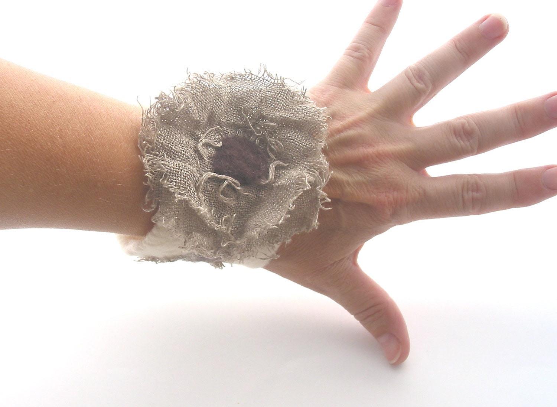 Felted,cuff,bracelet nunofelt with linen,flower,nunofelt bracelet with linen, nunofelt with flax flower.OOAK.Rustic.Eco friendly. - CraftbyMaryla