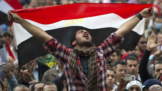 An Egyptian anti-government protester in Tahrir Square in 2011