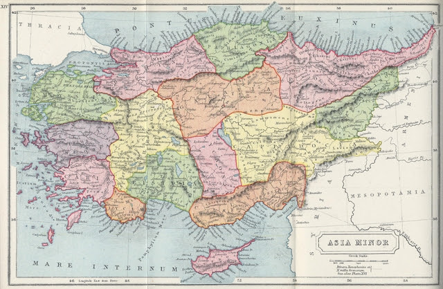 Map of Asia Minor (modern Turkey) During Roman Times.