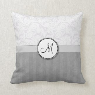 Silver Snow Floral Wisps & Stripes with Monogram Throw Pillows