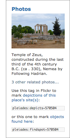 The Pleiades Flickr Portlet, as seen on the Nemea page. The portrait photo, by Carole Radato, depicts the Temple of Zeus at Nemea.