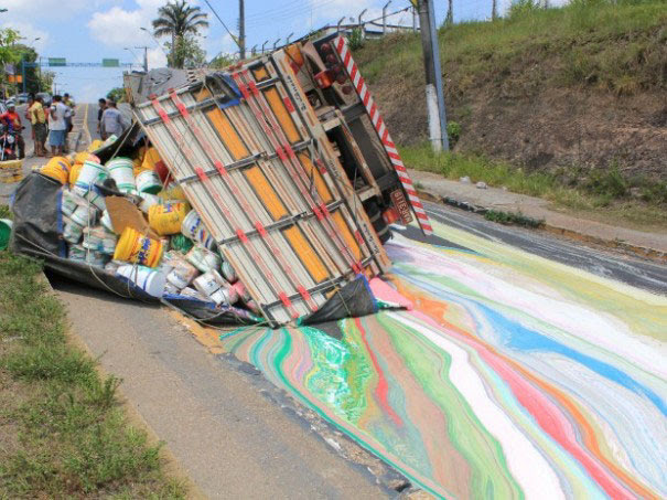 Truck With 14 Tons Of Paint Rolls Over Painting The Road In Vibrant Colors