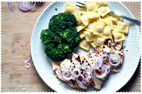 Grilled Balsamic Chicken with Feta and Onion