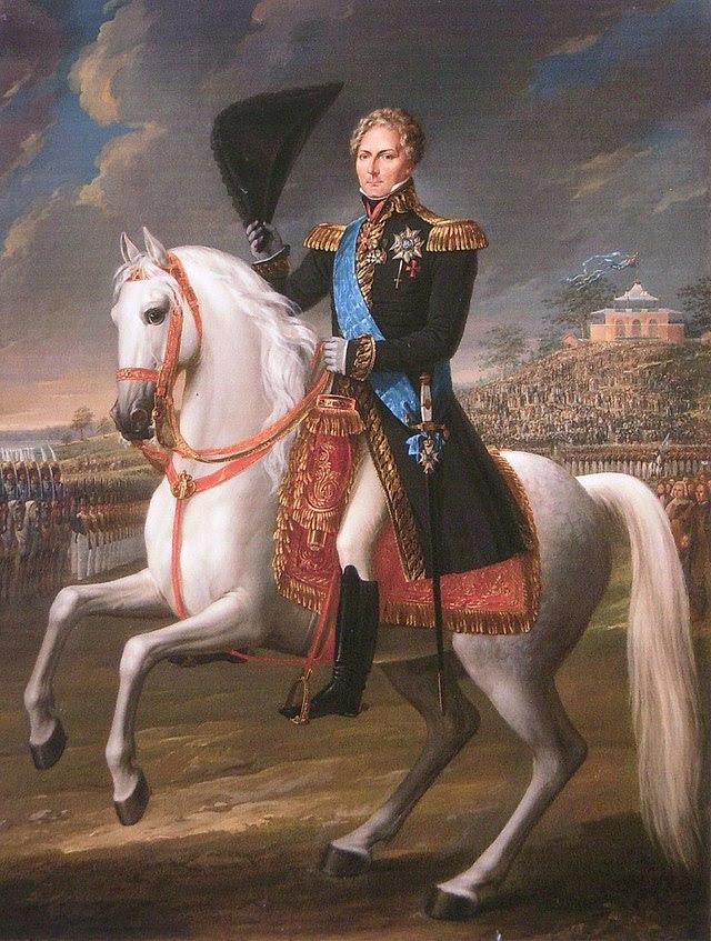 Karl XIV Johan med Borgen i bakgrunden till höger, målning av Fredric Westin 1838.