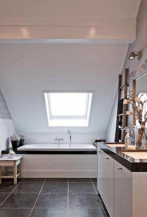 Sloped Bathroom Ceiling - Transitional - bathroom - Mi Casa