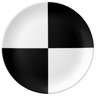 Black and White Rectangles Porcelain Plate