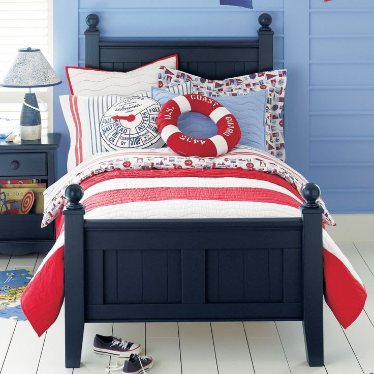 Nautical Theme Boy's Bedroom - Red, White and Blue