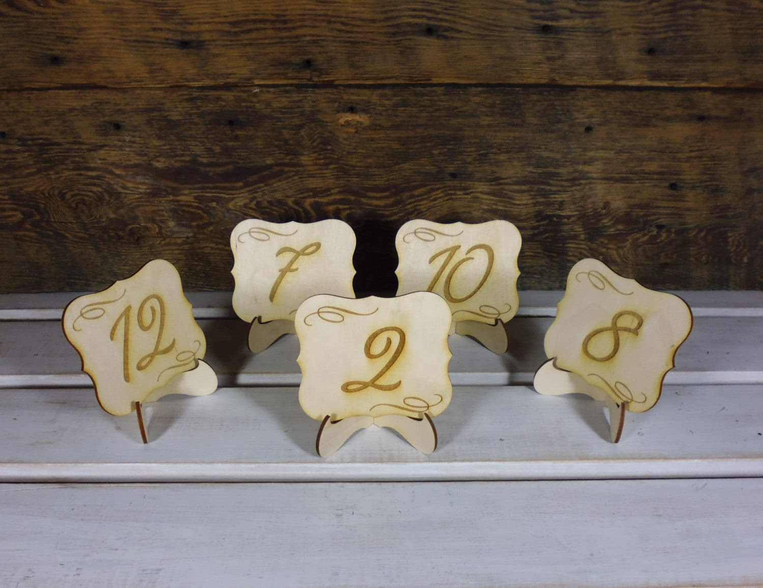 15 Table Number Wedding Signs on Stand Rustic Chic Wedding Table Numbers with Holder Garden or Country Wedding Table Decor Set of 15