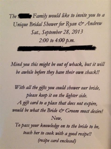 Bridal shower invite, for a gift card shower. Written by