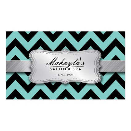 Elegant Teal Blue and Black Chevron Pattern Business Card