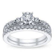 Miadora 14k White Gold Diamond Semi Eternity Wedding Band