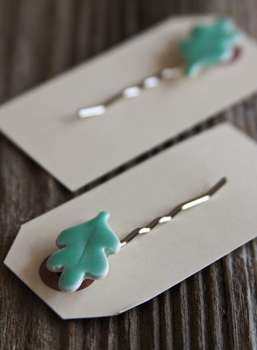Pair of Aqua Oak Leaf Bobby Pins - ON SALE