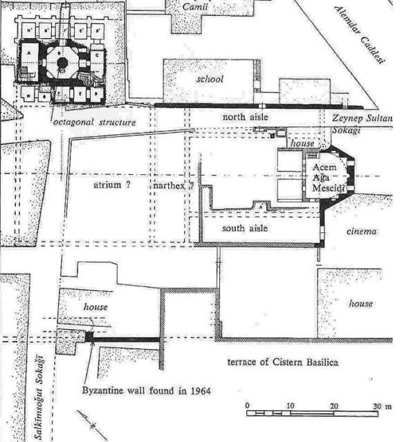 Κάτοψη του ναού των Χαλκοπρατείων, κατά W. Kleiss (1965).