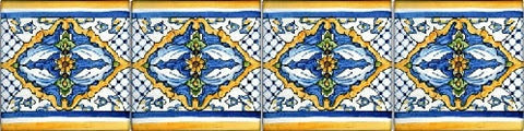 Hand Painted Spanish Tile Listello