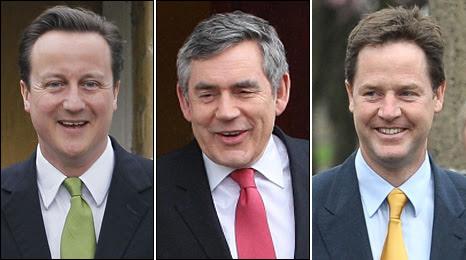 David Cameron, Gordon Brown and Nick Clegg