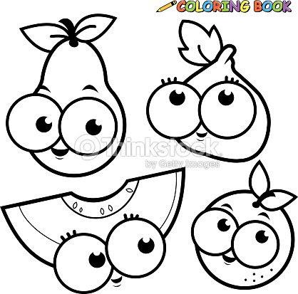 Libro Para Colorear Frutas Pera Conjunto De Dibujos Animados De Higo