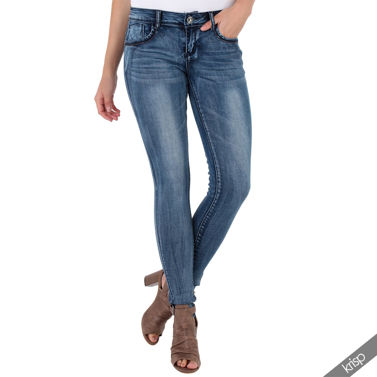 women studded back casual smart stretch skinny fit jeans