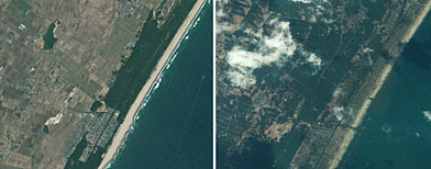 Combination photo shows satellite images of Sendai, Japan taken by the GeoEye-1 satellite on November 15, 2009 (L), and on March 12, 2011 after magnitude 8.9 earthquake and tsunami struck the region. (REUTERS/GeoEye Satellite Image)