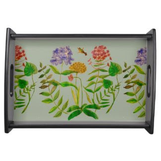 Botanical Illustration on Serving Tray