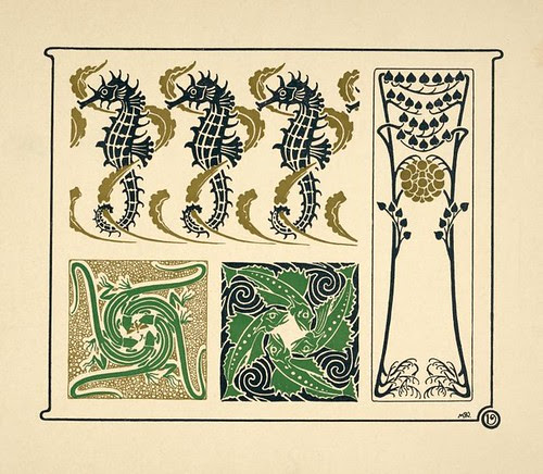 Abstract design based on seahorses, fish, lizards, tiny leaves