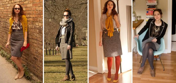 dash dot dotty, tweed skirt, remix, one skirt four ways, tweed skirt combinations, i feel the need for tweed