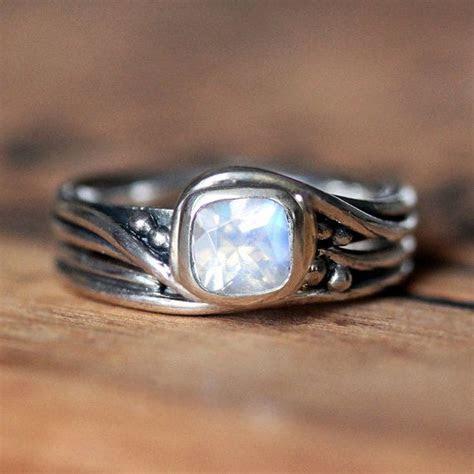 Rustic moonstone engagement ring set for the unique bride