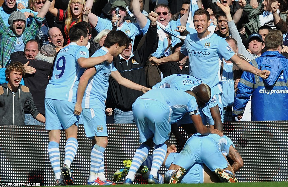 Can you believe it? City players go wild after Sergio Aguero's last-gasp heroics against QPR