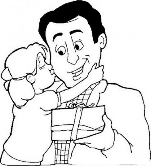 Dibujo De Hija Dando Beso A Su Papa Por El Dia Del Padre Para Pintar