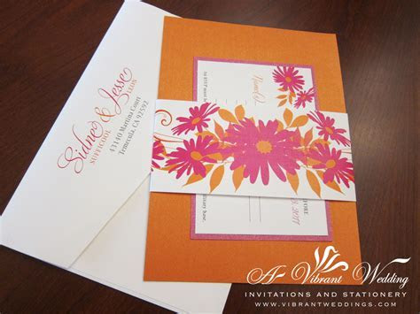 Pink and Orange Wedding Invitation with Daisy Flower