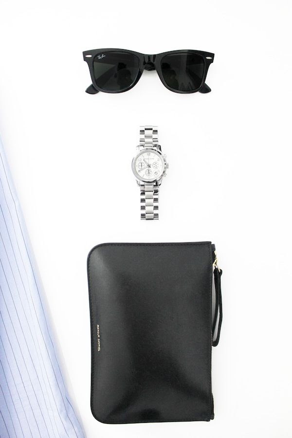 Le Fashion Blog Black Ray Ban Wayfarer Sunglasses Michael Kors Silver Watch Mansur Gavriel Zip Pouch Spring Accessories Flat Lay