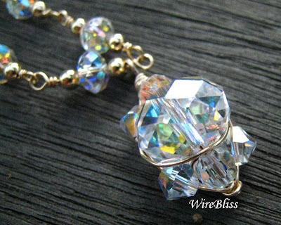 close up of the sparkly Swarovski crystal pendant