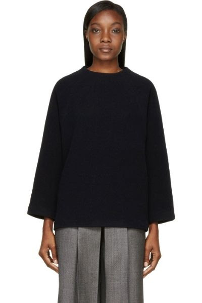 Studio Nicholson Dark Navy Wool Oak Formal Sweater