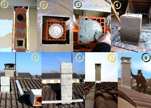 Etapes de montage d'une cheminée