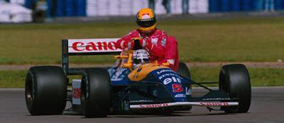 GP da Inglaterra de 1991: o inglês Nigel Mansell e o brasileiro Ayrton Senna