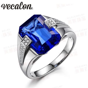 vecalon brand men fashion jewelry wedding band ring ct