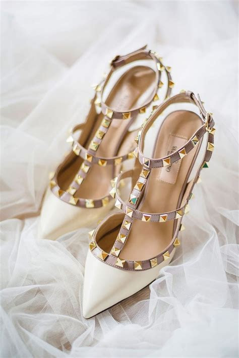 White Valentino Rockstud leather pumps   bridal shoes