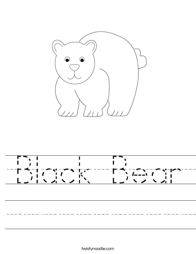 Black Bear Worksheet - Twisty Noodle