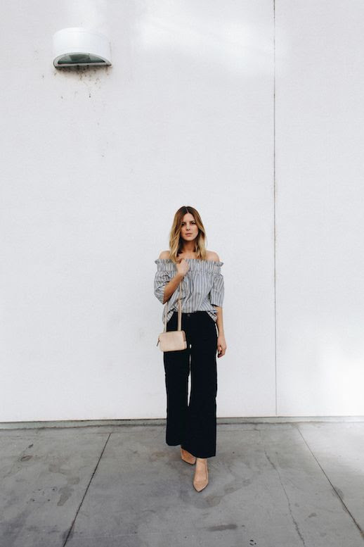 Le Fashion Blog Striped Off Shoulder Top Dark Flare Jeans Nude Heel Blogger Style Via Take Aim