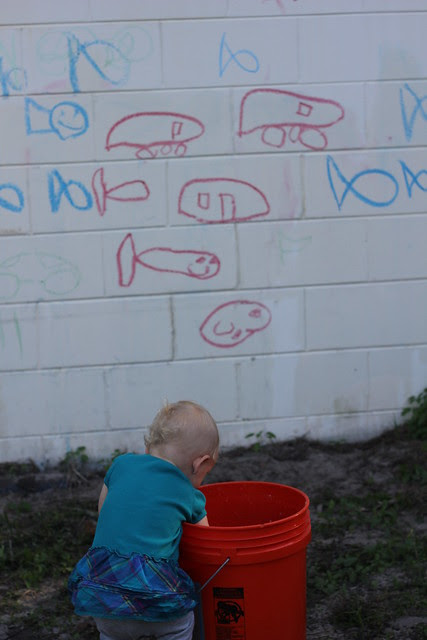 Washing the Car and Drawing on the House