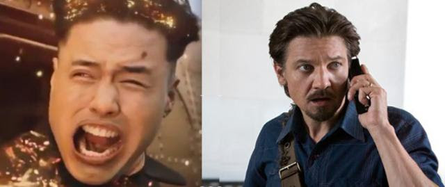 Randall Park as Kim Jong-un, as his head explodes in 'The Interview, and Jeremy Renner as doomed journalist Gary webb in 'Kill t