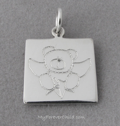 Square Sterling Bear Angel Charm
