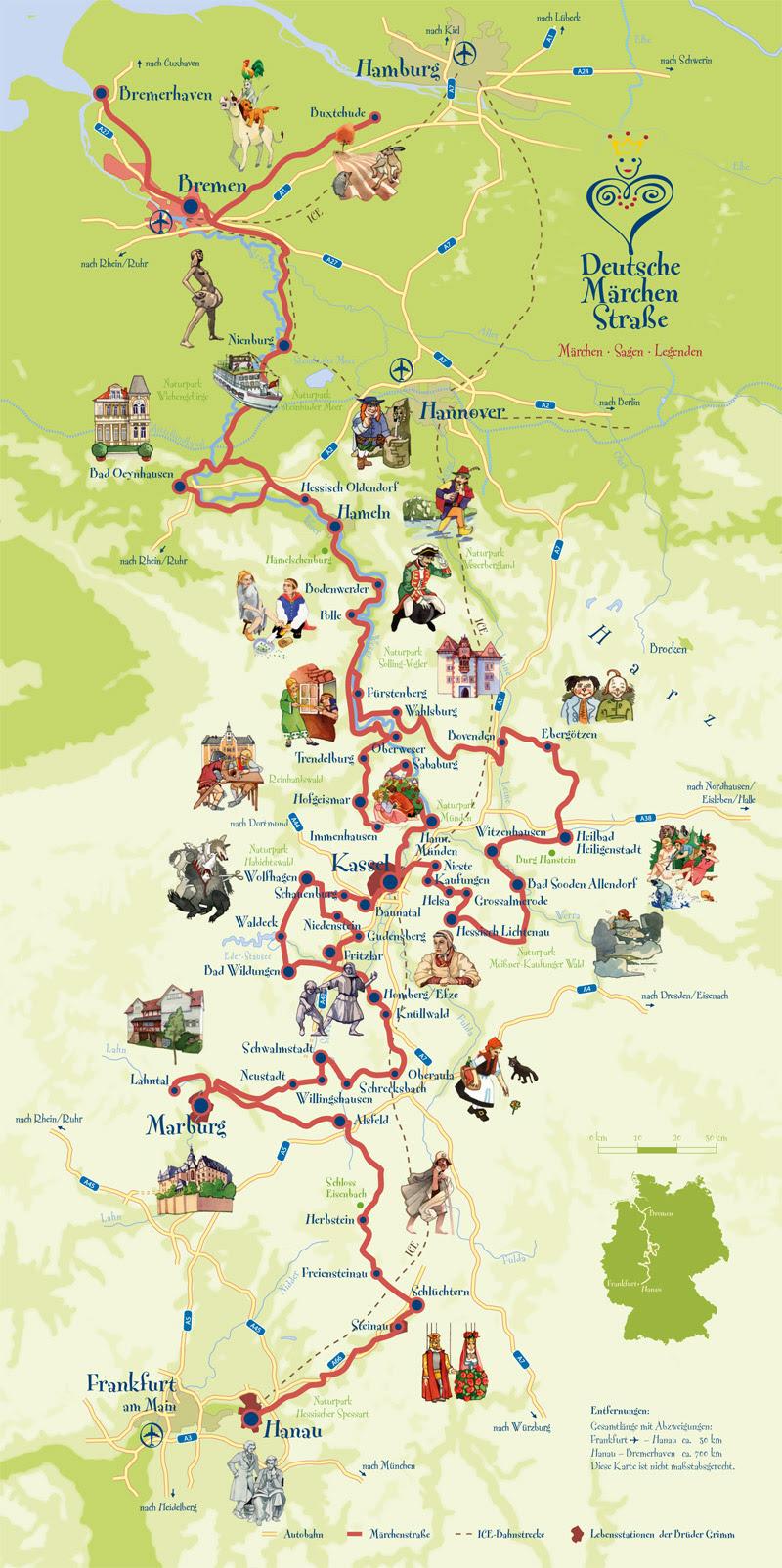 Mapa Deutsche-Märchenstrasse
