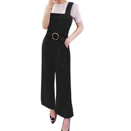 Women's Square Neck Wide Leg Suspender Pants w Waist Belt Black (Size S \/ 4)