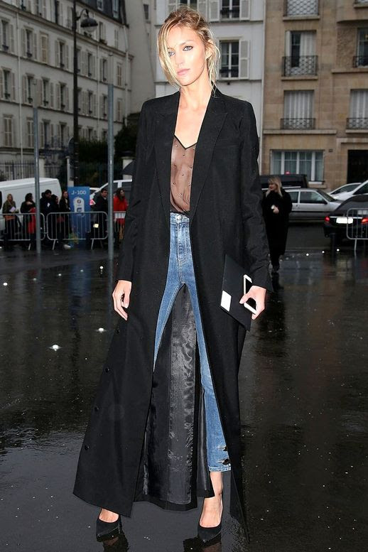 Le Fashion Blog Street Style Model Off Duty Anja Rubik Black Maxi Coat Sheer Embellished Top Skinny Jeans Pumps Via Vogue