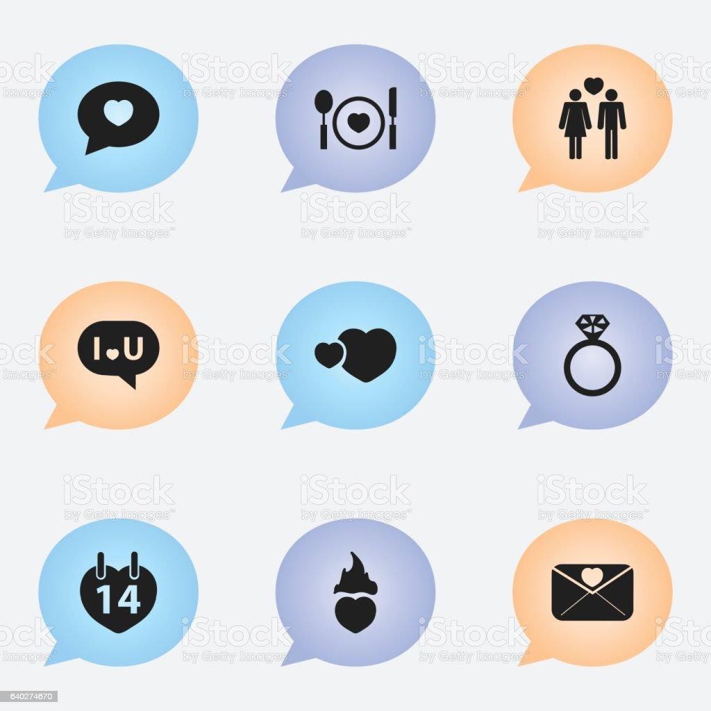 Set Of 9 Editable Heart Icons stock vector art 640274670 | iStock