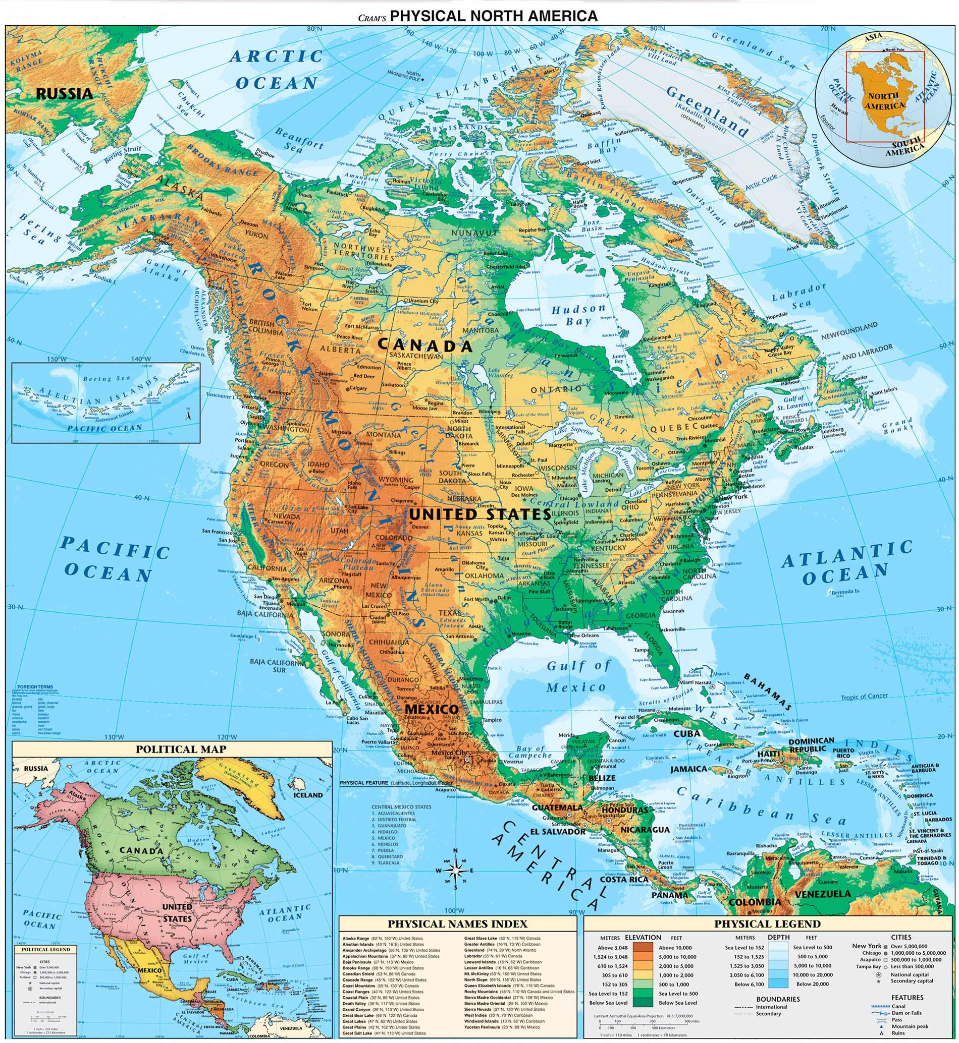 North And Central America Physical Map  E2 80 A2 Mapsof Net