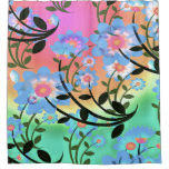Pretty Abstract Multicolored Flowers Blue Shower Curtain