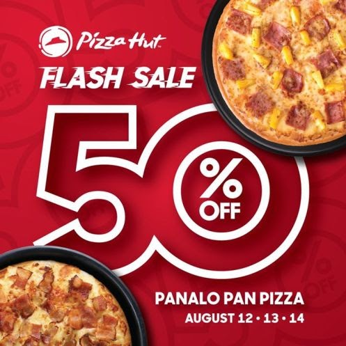 Enjoy selected flavors of Pizzs Hut Regular and Large Panalo Pan Pizza at 50% off
