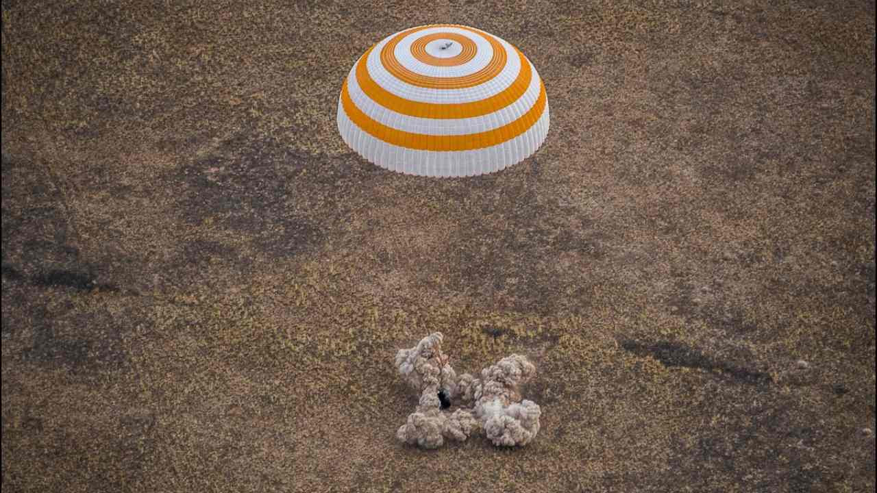 The three space travellers landed around 150 kilometres southeast of the Kazakh city of Zhezkazgan. Image credit: NASA/Twitter
