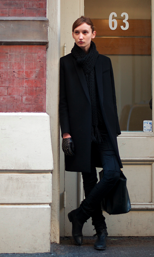 LE FASHION BLOG COZY CLASSIC COAT LAPEL CABLE KNIT SCARF SCARVES STRAP BOOTS STUDDED GLOVES WINTER INSPIRATION BLACK TOTE BAG MODEL OF DUTY STREET STYLE VIA AN UNKNOWN QUANTITY